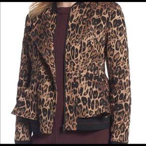 *NEW* Trouve Peplum Animal Print Moto Jacket